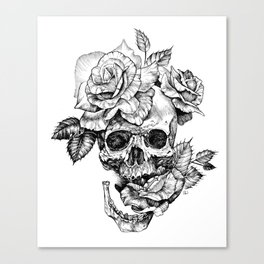 Black and White skull with roses pen drawing Canvas Print