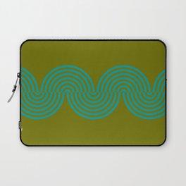 groovy minimalist pattern aqua waves on olive Laptop Sleeve