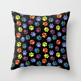 Black Rainbow Paw Print Pattern Throw Pillow