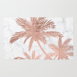 Tropical simple rose gold palm trees white marble Rug