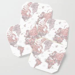 Dusty pink and grey detailed watercolor world map Coaster
