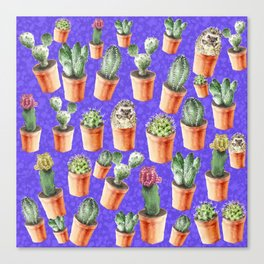 Cactus pattern watercolor Canvas Print