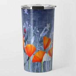 Summer night- Shadow of a Poppy meadow- Flowers Travel Mug