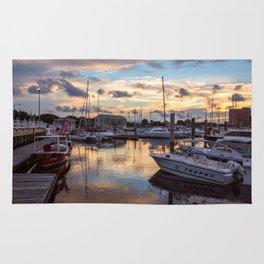 Portsmouth Marina at Sunset Rug