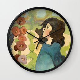 Wandering in a Watercolor Garden Wall Clock