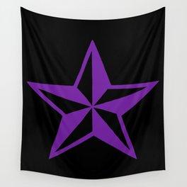 Purple Tattoo Style Star on Black Wall Tapestry