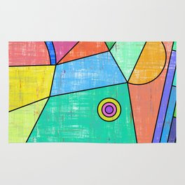 Colorful geometric abstract print, primary colors print Rug