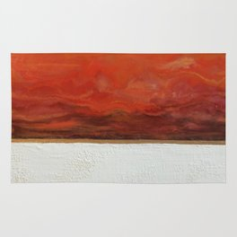 Northern Lights (red) Original Encaustic Painting Rug