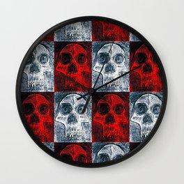 Red and white vampire skulls Wall Clock