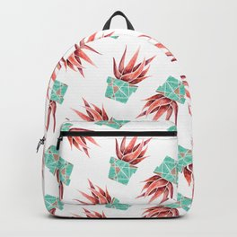 Aloe Vera Plant, Geometric, Coral, Mint, Rose Gold Backpack
