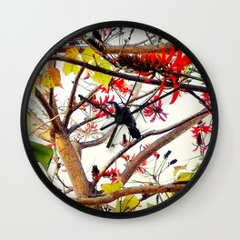 Bird in Coral Tree Wall Clock