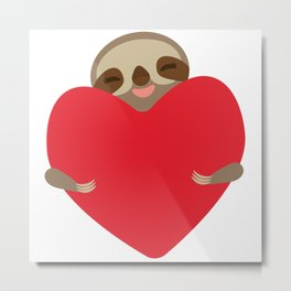 Valentines day card. Funny sloth with a red heart Metal Print