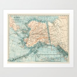 picture regarding Printable Maps of Alaska named alaska map artwork prints Culture6