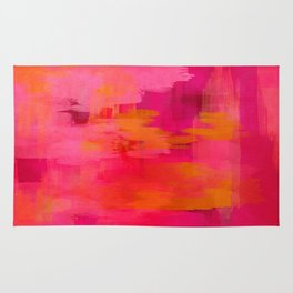 """""""Abstract brushstrokes in pastel pinks and oranges decorative pattern"""" Rug"""