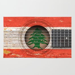 Old Vintage Acoustic Guitar with Lebanese Flag Rug
