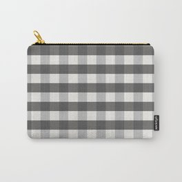 Grey and Pottery White Plaid Gingham Farmhouse Country Canvas digital texture Carry-All Pouch