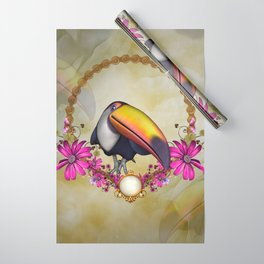 Cute funny toucan with flowers Wrapping Paper