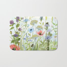 Floral Watercolor Botanical Cottage Garden Flowers Bees Nature Art Bath Mat