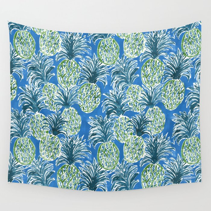 LAPIS PINEAPPLE O'CLOCK Tropical Print Wall Tapestry