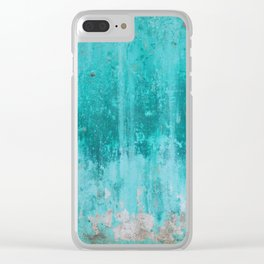Weathered turquoise concrete wall texture Clear iPhone Case
