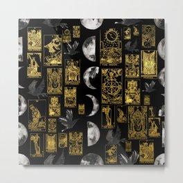 Beautiful Tarot Print with Raven and Moon Metal Print