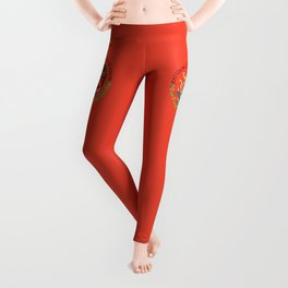 Mexican seal on Adobe red Leggings