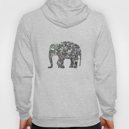 Sparkly colourful silver mosaic Elephant Hoody