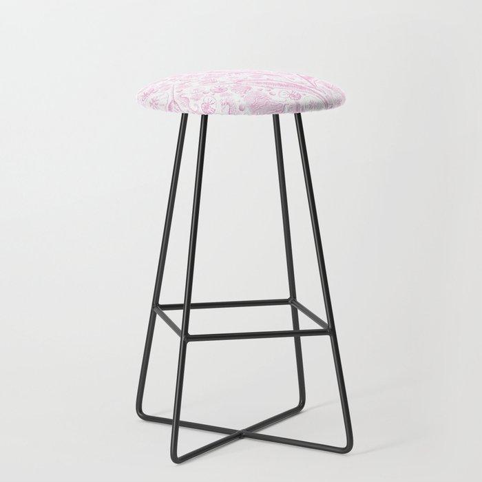 Mermaid Toile - Baby Pink Bar Stool