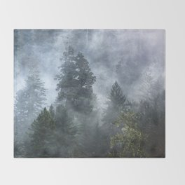 Smoky Redwood Forest Foggy Woods - Nature Photography Throw Blanket