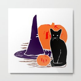 Witch Cat Pumpkin Woodcut Halloween Design Metal Print