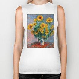Bouquet of Sunflowers - Claude Monet Biker Tank