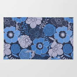 blue anemones and roses Rug