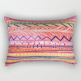 Hand painted Bright Patterned Stripes Rectangular Pillow