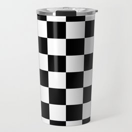 Checkered Pattern: Black & White Travel Mug