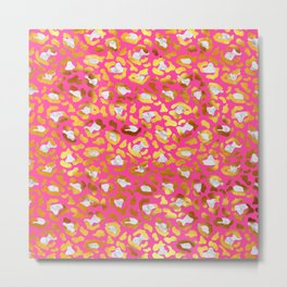 Cute and Dreamy Leopard Golden Spots Pink Print Metal Print