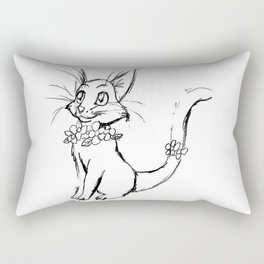 Color-or-Paint-Your-Own Cat with Flowers #ArtofGaneneK #AdultColoring #Animal Rectangular Pillow
