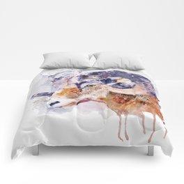 Bighorn Sheep watercolor portrait Comforters