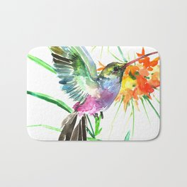 Hummignbird and Flowers Bath Mat