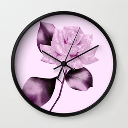 simple satiny pink rose Wall Clock