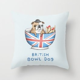 British Bowl Dog Throw Pillow