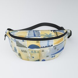 Morning Middle Eastern Town Watercolor Fanny Pack