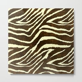 Animal Print Zebra in Winter Brown and Beige Metal Print