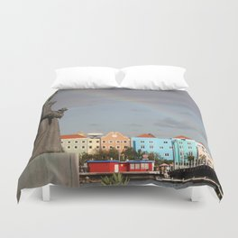 Rainbow over Willemstad Curaçao Duvet Cover
