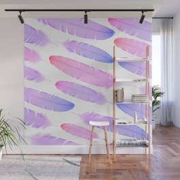 Colorful seamless feather vector pattern Wall Mural
