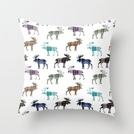 Plaid Moose Throw Pillow