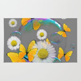 YELLOW BUTTERFLIES  DAISIES & SOAP BUBBLES GREY COLOR Rug
