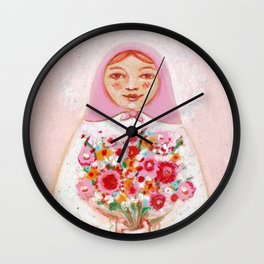 Matryoshka with flowers Wall Clock