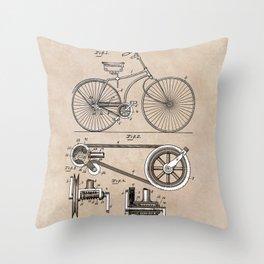 patent Bicycle 1890 Rice Throw Pillow