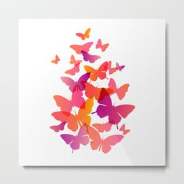 Butterfly Pink Butterflies Flying Off Metal Print