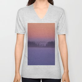 Foggy Winter Evening With Beautiful Sunset Colors In The Sky #decor #buyart #society6 Unisex V-Neck